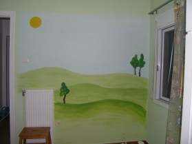 το λιβάδι χρησιμοποιήθηκε ως φόντο για αυτοκόλλητα τοίχου με ζώα του αγρού